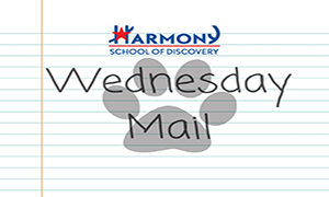 Picture of Harmony School of Discovery logo with text Wednesday Mail